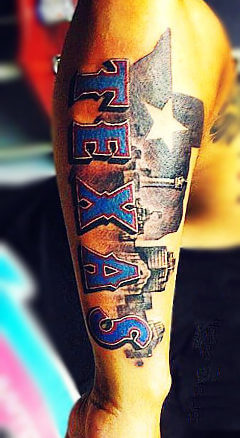 Texas arm tattoo